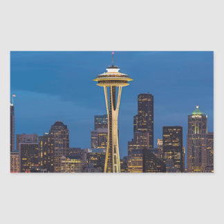 The Space Needle and downtown Seattle Rectangular Sticker