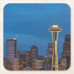 "The Space Needle and downtown Seattle Square Paper Coaster<br><div class=""desc"">Space Needle Blue Hour</div>"