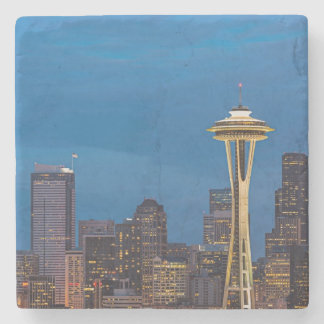 The Space Needle and downtown Seattle Stone Coaster