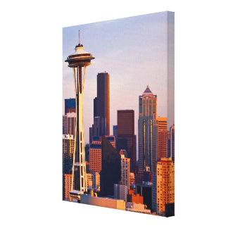 The Space Needle is a tower at dusk in Seattle Canvas Print
