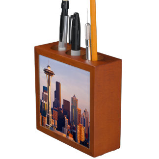 The Space Needle is a tower at dusk in Seattle Desk Organizer