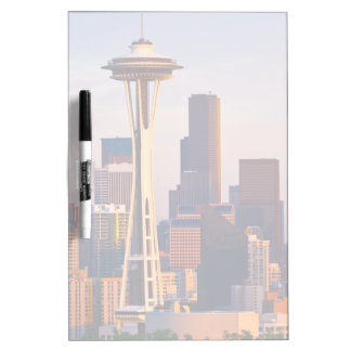 The Space Needle is a tower at dusk in Seattle Dry-Erase Board