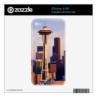 The Space Needle is a tower at dusk in Seattle iPhone 4 Skins