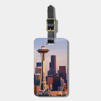 The Space Needle is a tower at dusk in Seattle Luggage Tag