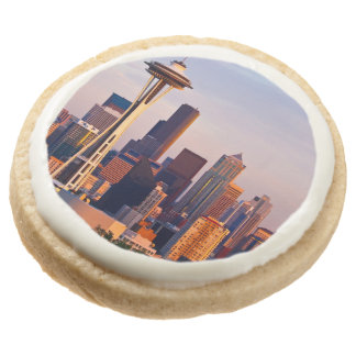 The Space Needle is a tower at dusk in Seattle Round Premium Shortbread Cookie