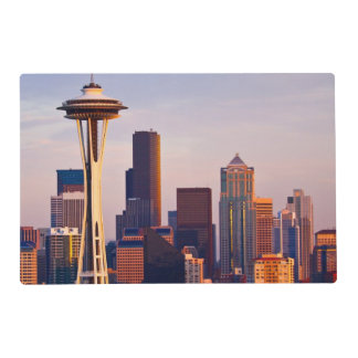 The Space Needle is a tower at dusk in Seattle Placemat