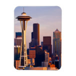 The Space Needle is a tower at dusk in Seattle Rectangle Magnet