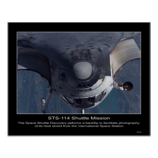 The Space Shuttle Discovery performs a backflip Poster