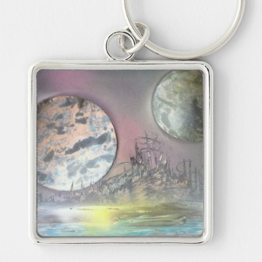 The Space Station Silver-Colored Square Keychain