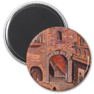 THE SPANISH COURTYARD 2 INCH ROUND MAGNET
