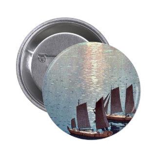 The sparkling sea by Yoshida, Hiroshi Ukiyoe 2 Inch Round Button