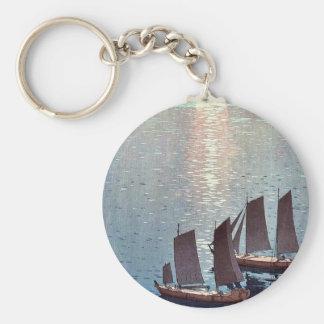 The sparkling sea by Yoshida, Hiroshi Ukiyoe Basic Round Button Keychain