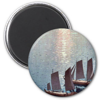The sparkling sea by Yoshida, Hiroshi Ukiyoe 2 Inch Round Magnet
