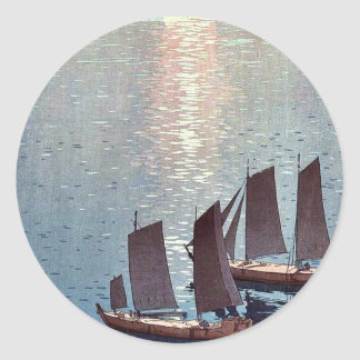 The sparkling sea by Yoshida, Hiroshi Ukiyoe Classic Round Sticker