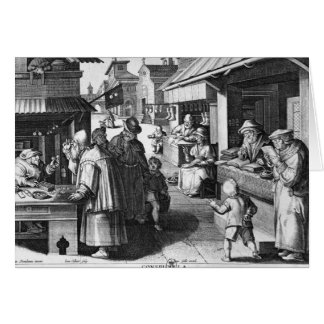 The Spectacles Seller, engraved by Jan Collaert Card
