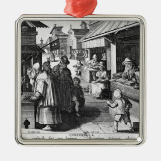 The Spectacles Seller, engraved by Jan Collaert Metal Ornament