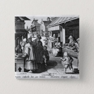 The Spectacles Seller, engraved by Jan Collaert Pinback Button