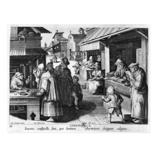 The Spectacles Seller, engraved by Jan Collaert Postcard