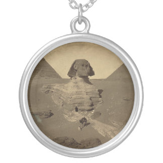 The Sphinx and Pyramids in Egypt circa 1867 Silver Plated Necklace