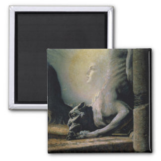 The Sphinx and the Chimera, 1906 (oil on canvas) 2 Inch Square Magnet