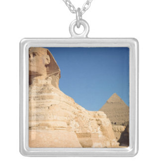 The Sphinx and The Pyramid of Khafre, Giza Silver Plated Necklace