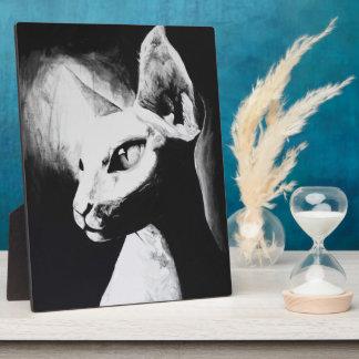 The Sphynx Cat Feline Original Art Easel Plaque