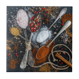 The Spices on Spoons Ceramic Tile