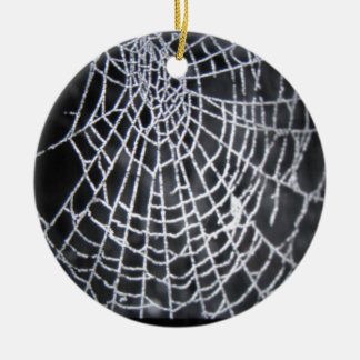 The spider web Double-Sided ceramic round christmas ornament