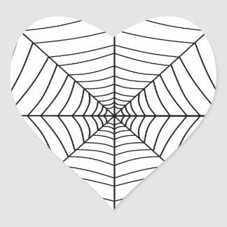 THE SPIDER'S WEB (a black & white design) ~ Heart Sticker
