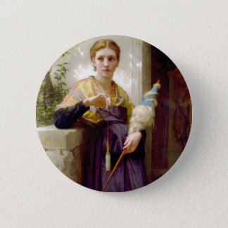The Spinner, William-Adolphe Bouguereau Pinback Button