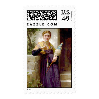 The Spinner, William-Adolphe Bouguereau Postage Stamp