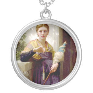 The Spinner, William-Adolphe Bouguereau Round Pendant Necklace