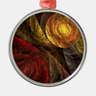 The Spiral of Life Abstract Art Round Metal Ornament