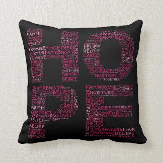 The Spirit of Hope (Pink Text) Throw Pillow