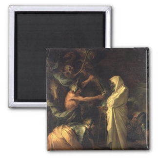The Spirit of Samuel appearing to Saul at the hous 2 Inch Square Magnet