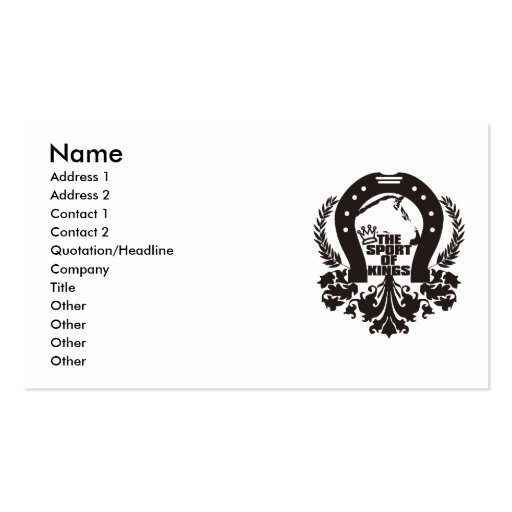 The_Sport_Of_Kings Business Card Templates