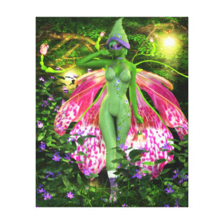 The Sprightly Orchid Faerie Wrapped Canvas Print
