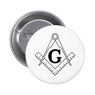 The Square and Compasses Freemasonry Symbol Pinback Button