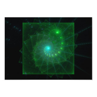 """The Square Green Worm"" Fractal Art Card"