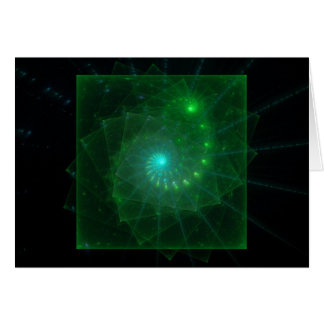 """""""The Square Green Worm"""" Fractal Art Card"""