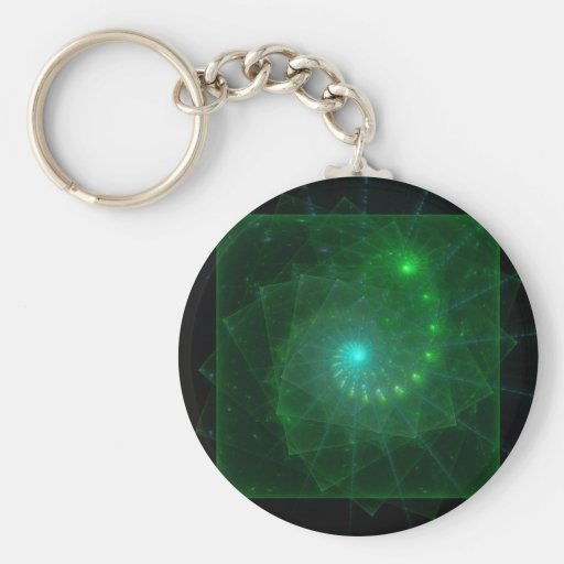 """The Square Green Worm"" Fractal Art Key Chain"