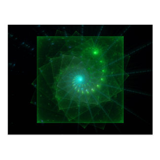 """""""The Square Green Worm"""" Fractal Art Postcard"""