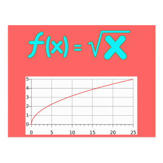 The Square Root Function f(x) = SQRT x Postcard