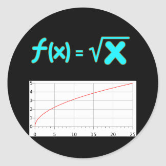 The Square Root Function f(x) = SQRT x Round Sticker