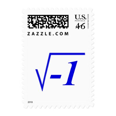 The Square Root of Minus One. Postage Stamps from Zazzle.