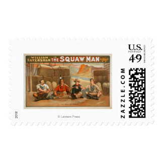 """""""The Squaw Man"""" - The Pipe of Peace Theatre Stamp"""