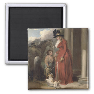 The Squire's Door, c.1790 (oil on canvas) 2 Inch Square Magnet