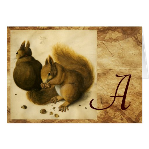THE SQUIRREL WITH NUTS MONOGRAM CARD