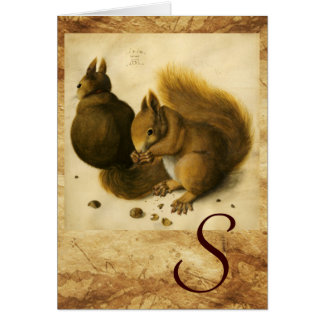 THE SQUIRREL WITH NUTS MONOGRAM GREETING CARD