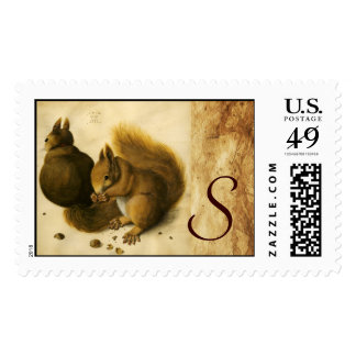 THE SQUIRREL WITH NUTS Monogram Postage Stamp